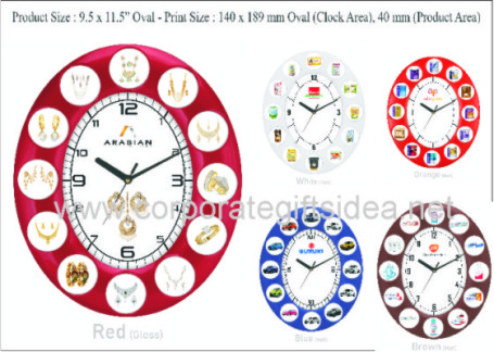 "CODE:	WC-018	(	WALL CLOCK 9.5"" X 11.5"" WITH PRODUCT DISPLAY	)	COLOURS AVAILABLE :	BROWN, BLUE, RED, BLACK, WHITE"